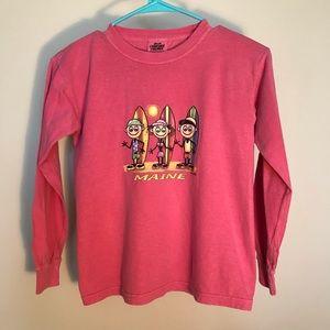 Girls small pink Maine surfer long sleeve t-shirt
